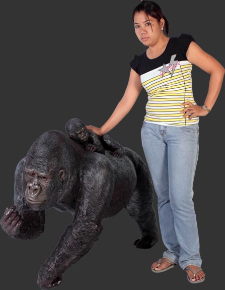 Female Gorilla with Baby / Fiberglass