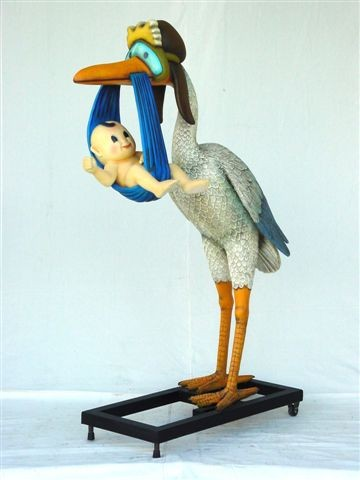Stork Delivering A Baby Life Size Statues Party Rentals
