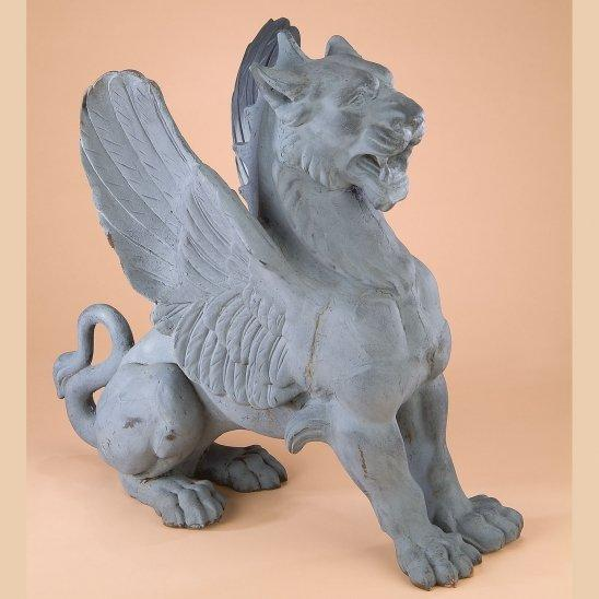 Cast Iron Winged Griffin Guard Statue
