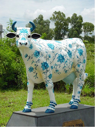 """ Blue and White Porcelain "" Cow"