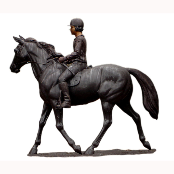 Bronze Lifesize Jockey on Horse