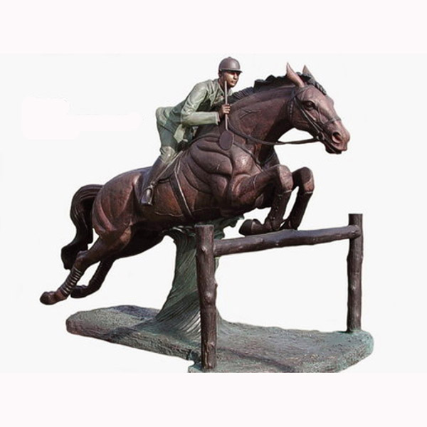 Bronze Jumping Horse with Rider