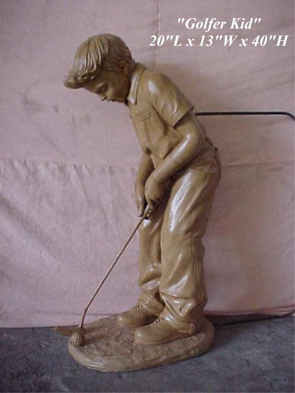 Bronze Boy playing Golf