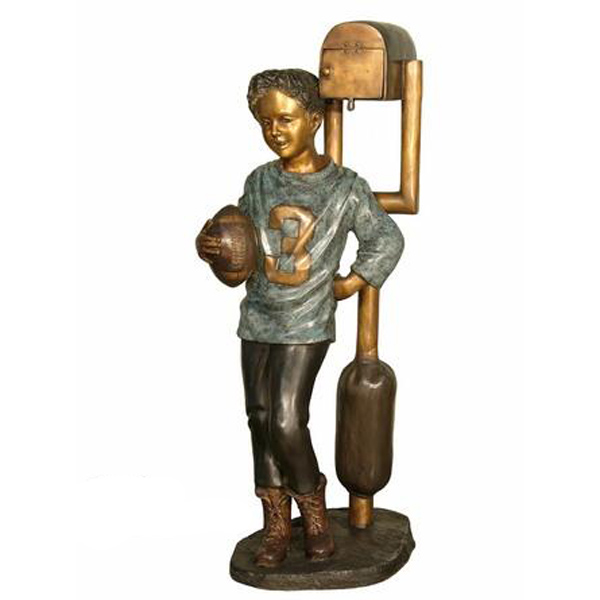 Bronze Football Boy on Mailbox