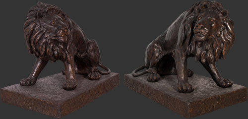 Set of Lions in Bronze or Roman Stone Finish