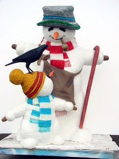 Snowman With Child and Bird